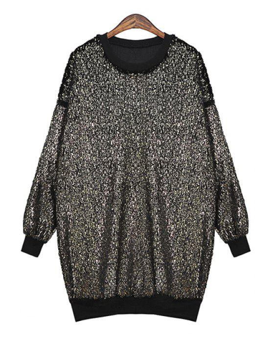 lady Long Sleeves Sequins Sweatshirt - GOLDEN ONE SIZE(FIT SIZE XS TO M)