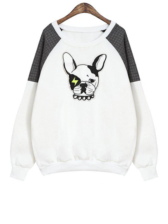 affordable Scoop Neck Dog Pattern Sweatshirt - WHITE ONE SIZE(FIT SIZE XS TO M)