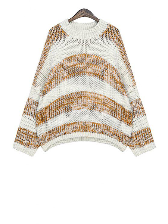 fancy Round Neck Striped Sweater - KHAKI ONE SIZE(FIT SIZE XS TO M)