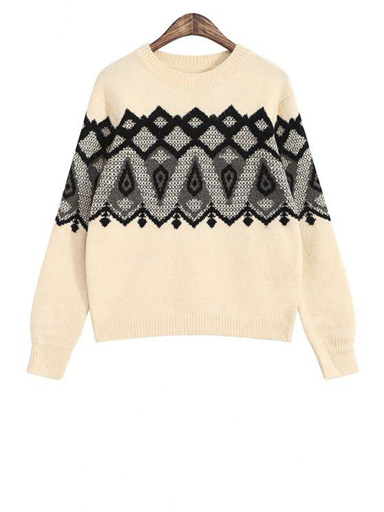 womens Geometric Pattern Round Neck Sweater - OFF-WHITE ONE SIZE(FIT SIZE XS TO M)