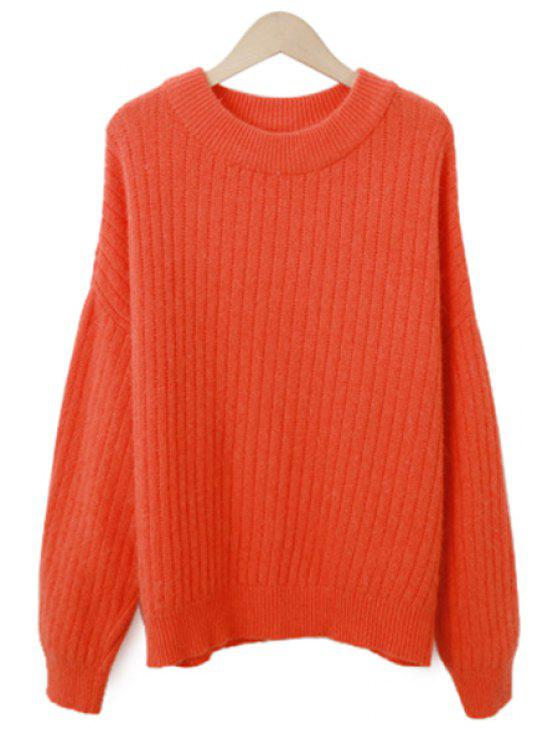 lady Long Sleeve Solid Color Striped Sweater - ORANGE ONE SIZE(FIT SIZE XS TO M)