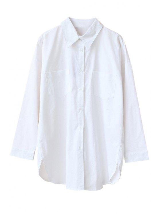 shop White Shirt Collar Zipper Back Shirt - WHITE ONE SIZE(FIT SIZE XS TO M)