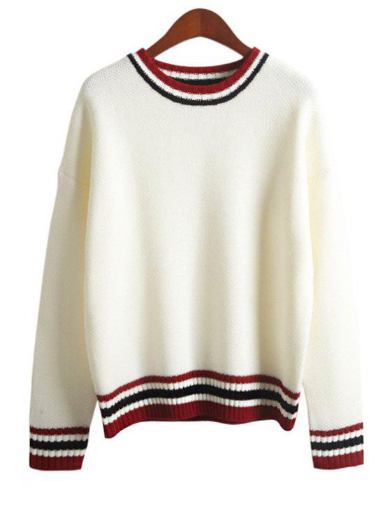 online Striped Splicing Round Neck Sweater - WHITE ONE SIZE(FIT SIZE XS TO M)