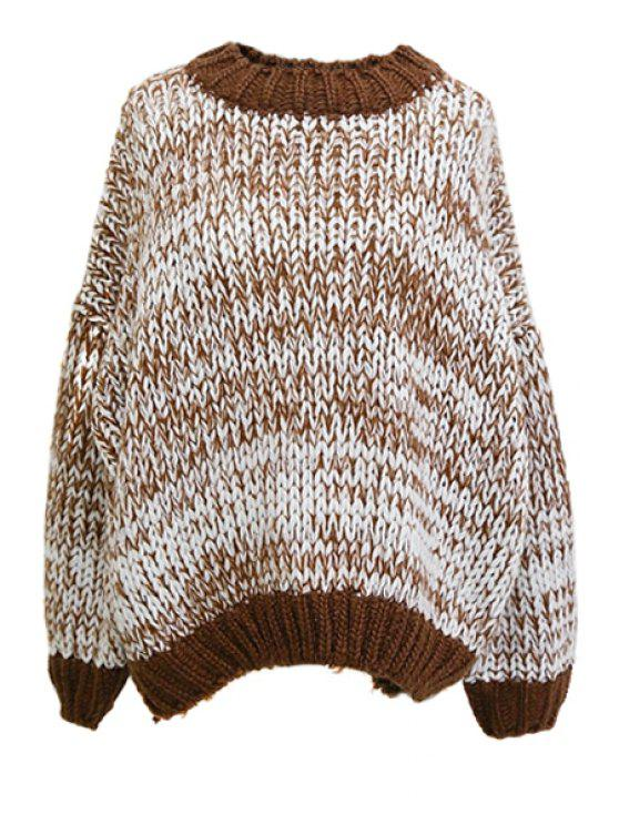 outfits Round Neck Color Mixed Sweater - COLORMIX ONE SIZE(FIT SIZE XS TO M)