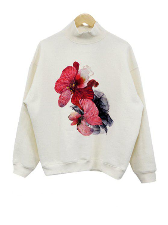 hot Turtle Neck Floral Print Sweatshirt - OFF-WHITE ONE SIZE(FIT SIZE XS TO M)