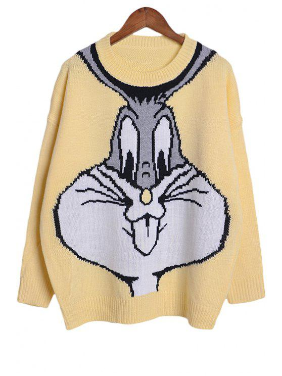 trendy Cartoon Rabbit Pattern Sweater - YELLOW ONE SIZE(FIT SIZE XS TO M)