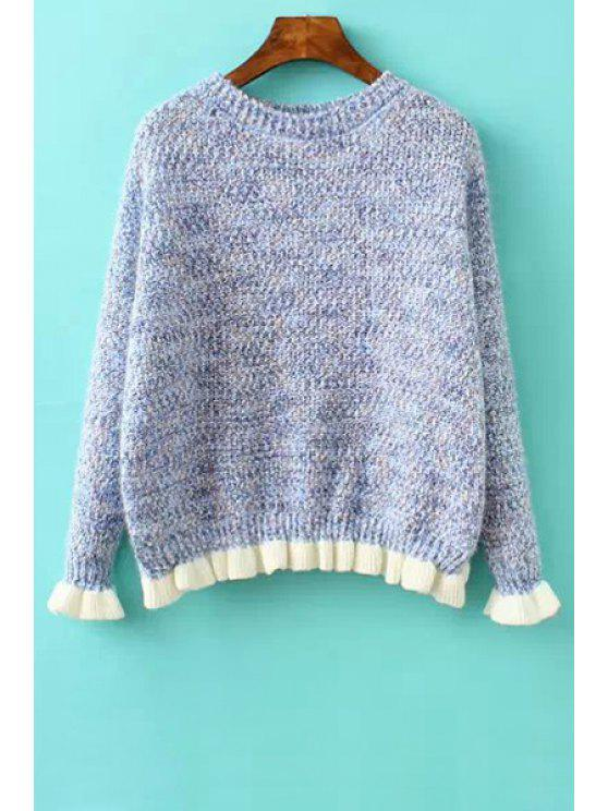 fancy Color Mixed Ruffles Splicing Sweater - BLUE ONE SIZE(FIT SIZE XS TO M)