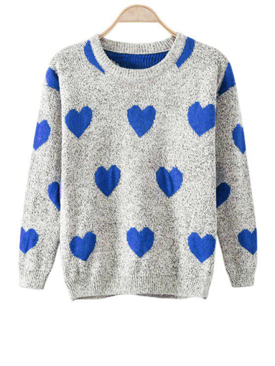 affordable Long Sleeves Heart Pattern Sweater - BLUE ONE SIZE(FIT SIZE XS TO M)