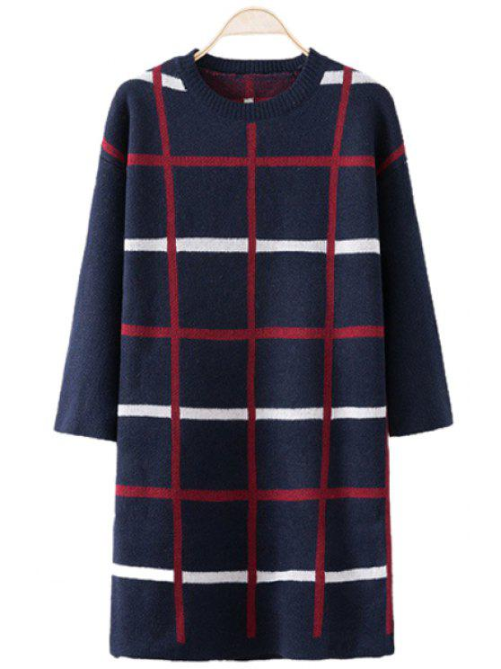 unique Checked Pattern Sweater Dress - PURPLISH BLUE ONE SIZE(FIT SIZE XS TO M)