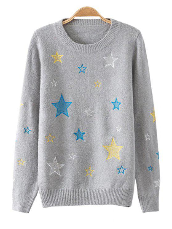 women Star Embroidery Long Sleeve Sweater - GRAY ONE SIZE(FIT SIZE XS TO M)