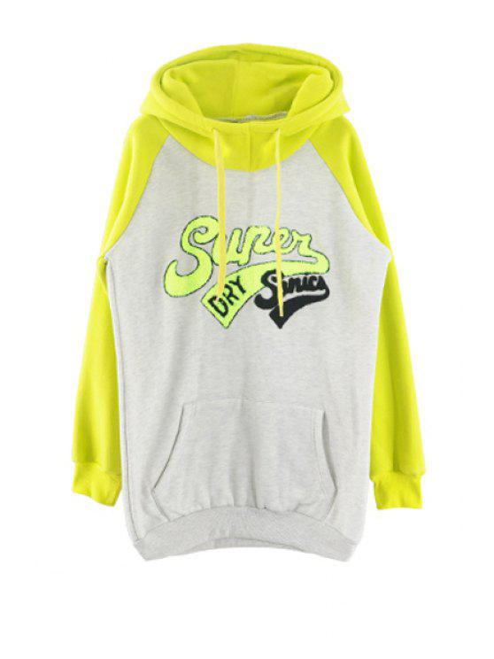 trendy Letter Color Block Front Pocket Hoodie - GREEN S