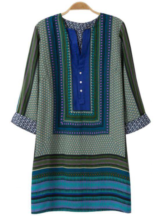 online 3/4 Sleeve Color Block Dress - GREEN S