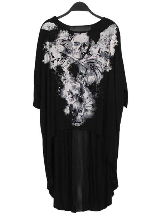 fancy Half Sleeve Skull Print T-Shirt - BLACK S
