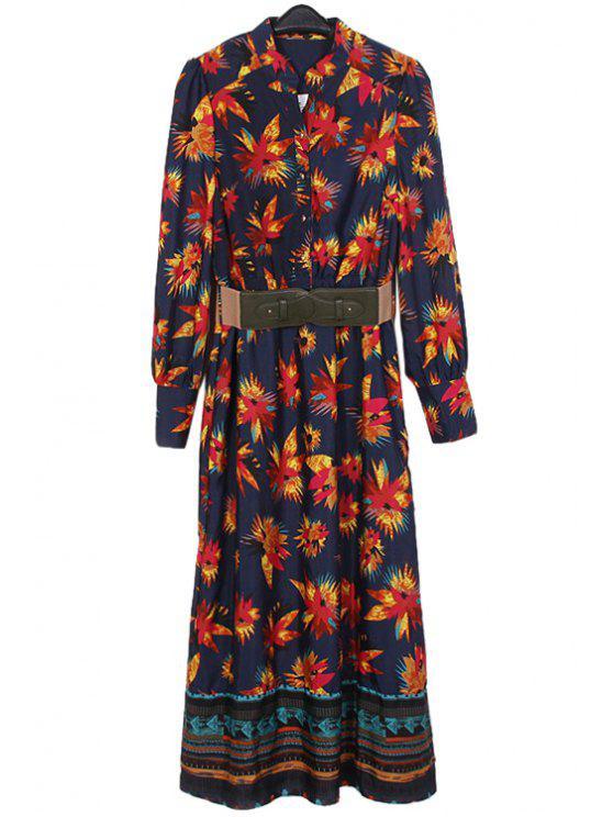 buy Leaf Print Stand Collar Maxi Dress - CADETBLUE S
