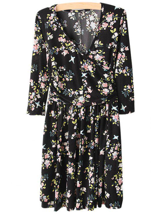 new V-Neck Tiny Floral Print Dress - BLACK L