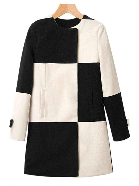 shops Color Block Checked Coat - WHITE AND BLACK S