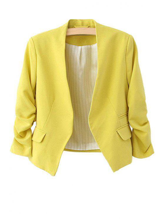 women 3/4 Sleeves Solid Color Blazer - YELLOW L