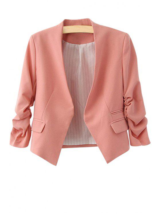 lady 3/4 Sleeves Solid Color Blazer - PINK L