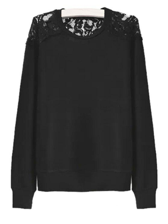 lady Long Sleeves Lace Splicing Knitwear - BLACK S