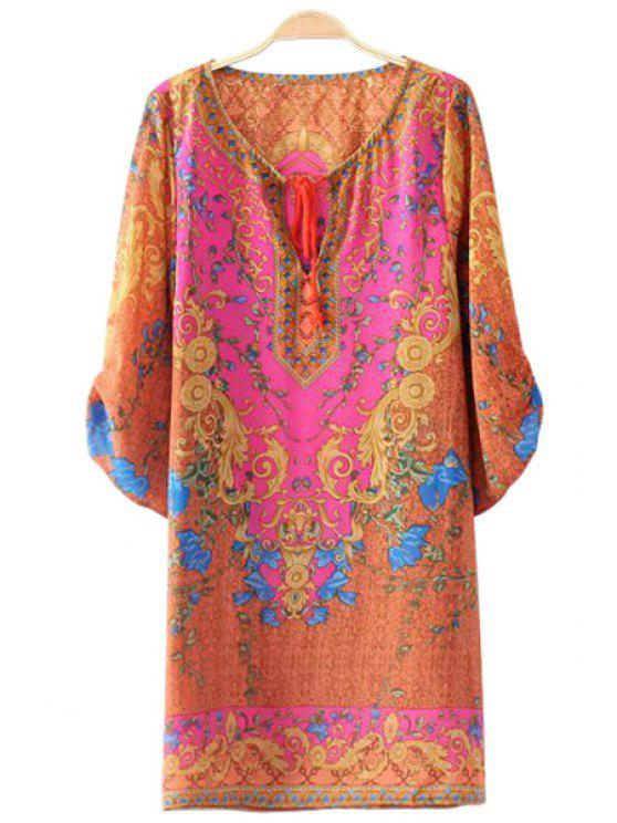hot Retro Print 3/4 Sleeve Dress - PINK S