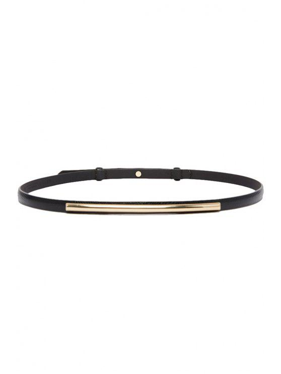 online Rectangle Alloy Slender Belt - BLACK