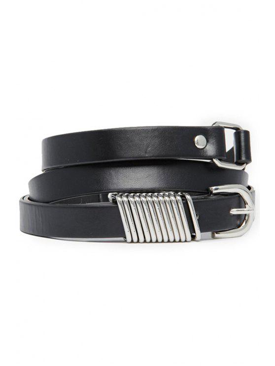 shops Faux Leather Double-Deck Belt - BLACK