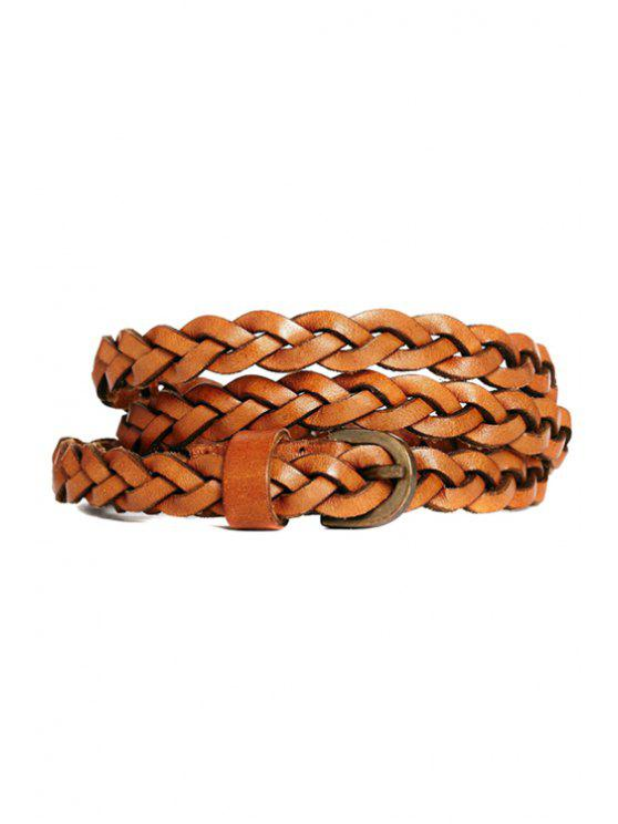 trendy Pin Buckle Weaving Belt - BROWN