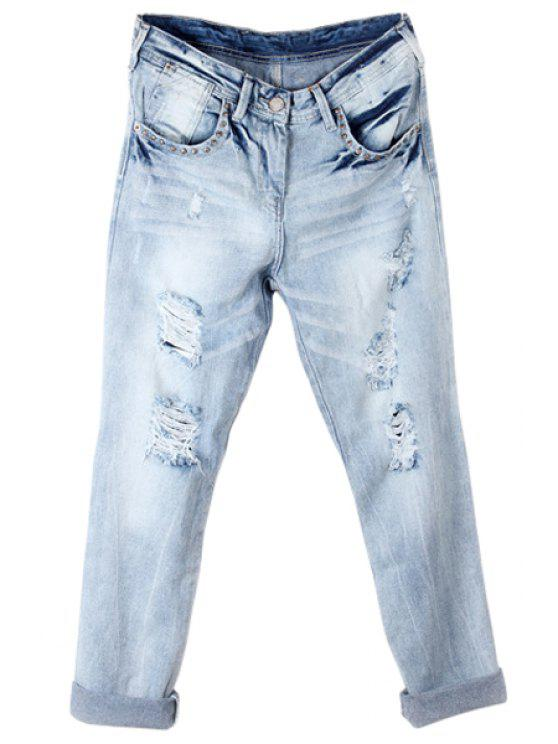 women's Broken Hole Vintage Jeans - LIGHT BLUE 34