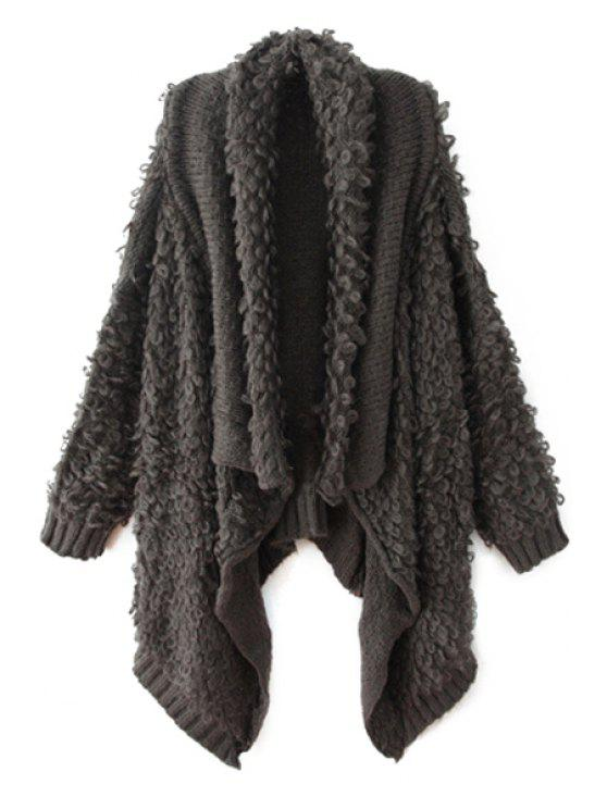 shop Irregular Design Solid Color Cardigan - GRAY ONE SIZE(FIT SIZE XS TO M)