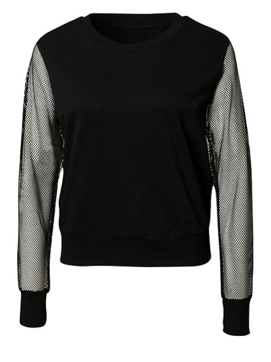 best Hollow Splicing Long Sleeve Sweatshirt - BLACK S