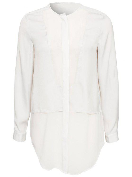 fashion Chiffon Splicing Round Neck Blouse - WHITE L
