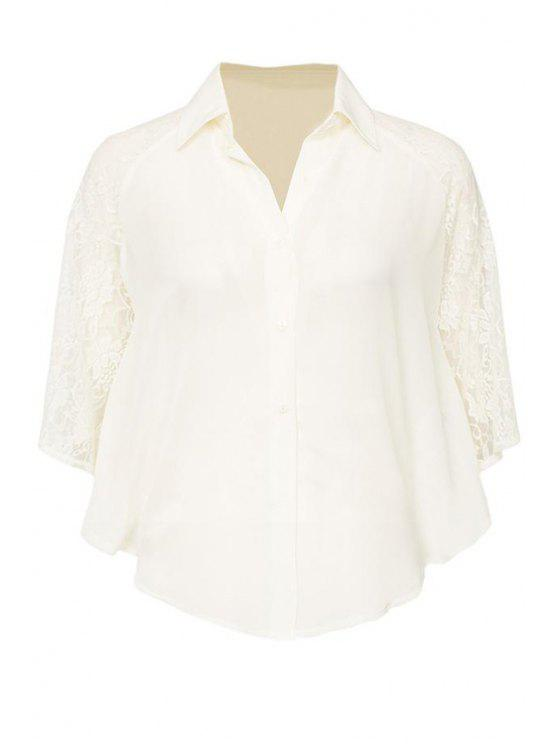 buy Half Sleeve Lace Splicing Shirt - WHITE S