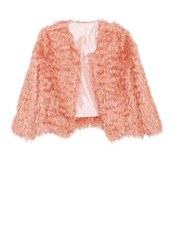 best Pink Faux Fur Long Sleeve Coat - PINK S