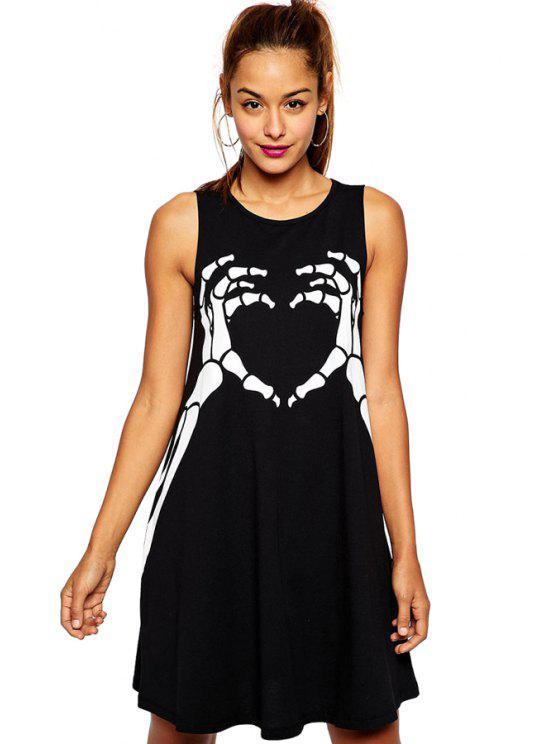 women Skeleton Print Scoop Neck Sundress - BLACK S