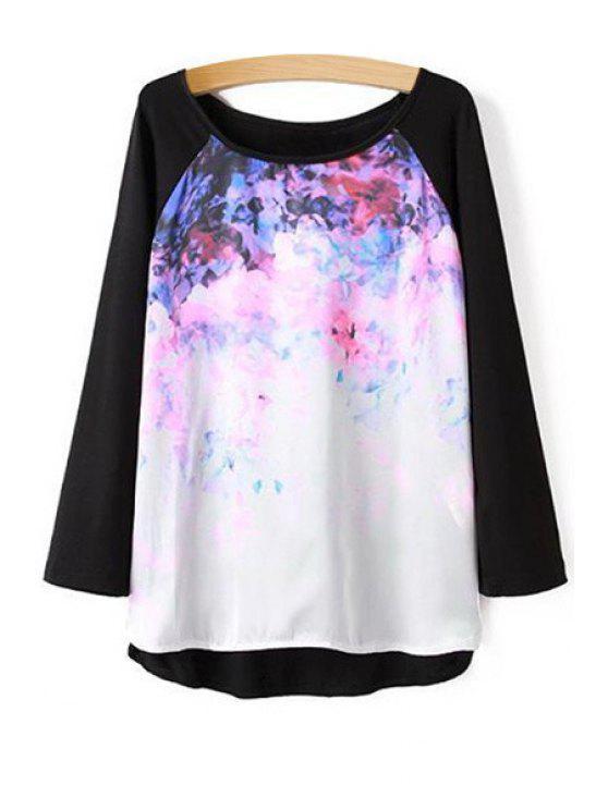 chic Print Splicing Long Sleeve T-Shirt - BLACK S