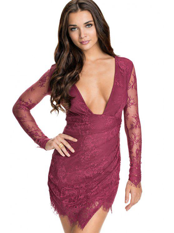 womens Solid Color Plunging Neck Lace Dress - WINE RED XL