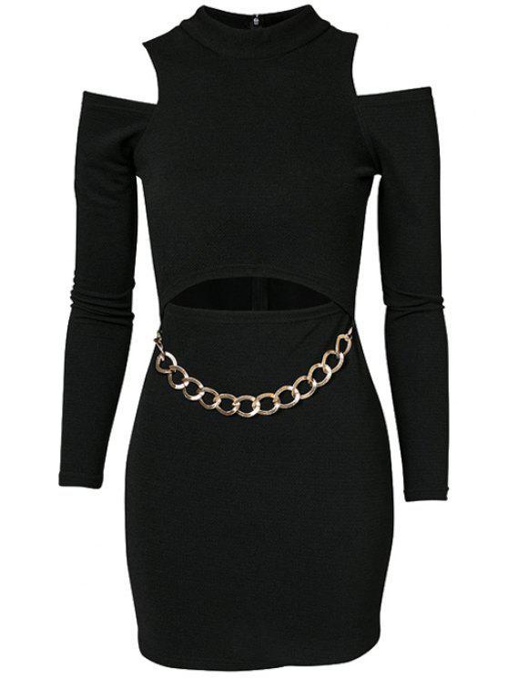 ladies Black Off-The-Shoulder Chain Dress - BLACK S
