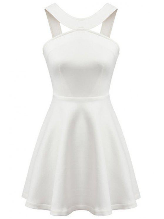 trendy Straps Solid Color A-Line Dress - WHITE S