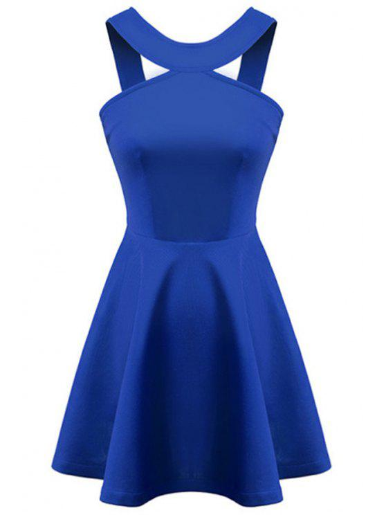 shop Straps Solid Color A-Line Dress - BLUE L
