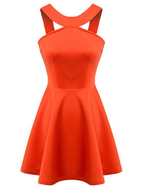 fancy Straps Solid Color A-Line Dress - ORANGE M