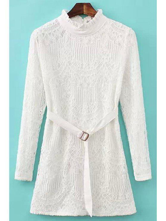 ladies White Long Sleeve Lace Dress - WHITE M