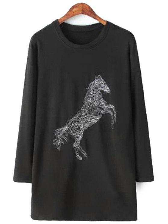 ladies Horse Embroidery Long Sleeve T-Shirt - BLACK S