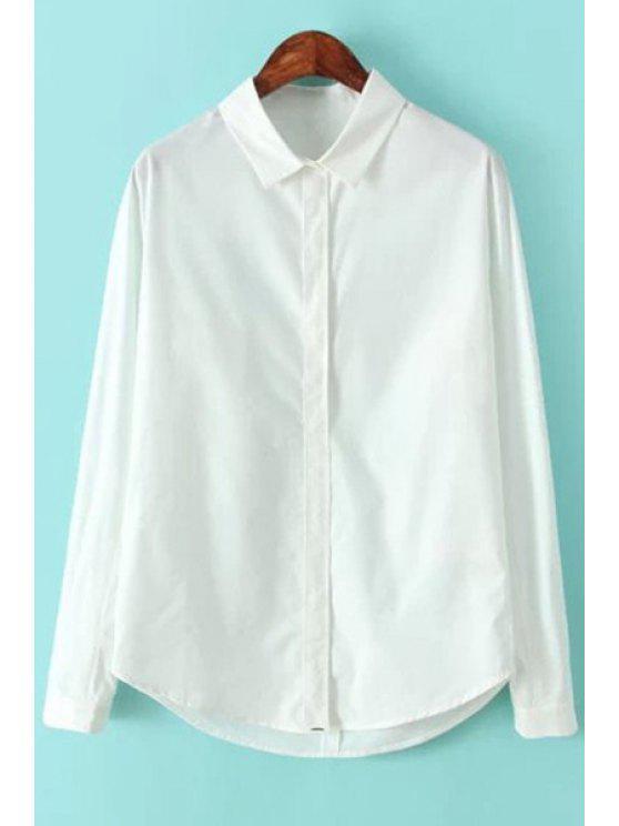 affordable Long Sleeves White Shirt - WHITE L