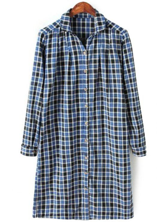 womens Long Sleeves Plaid Print Shirt - BLUE ONE SIZE(FIT SIZE XS TO M)