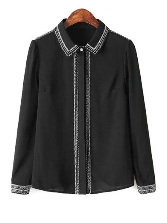 outfit Long Sleeve Embroidery Chiffon Shirt - BLACK S