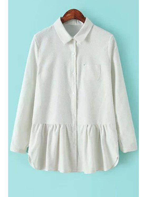 womens White Ruffles Splicing Shirt - WHITE S