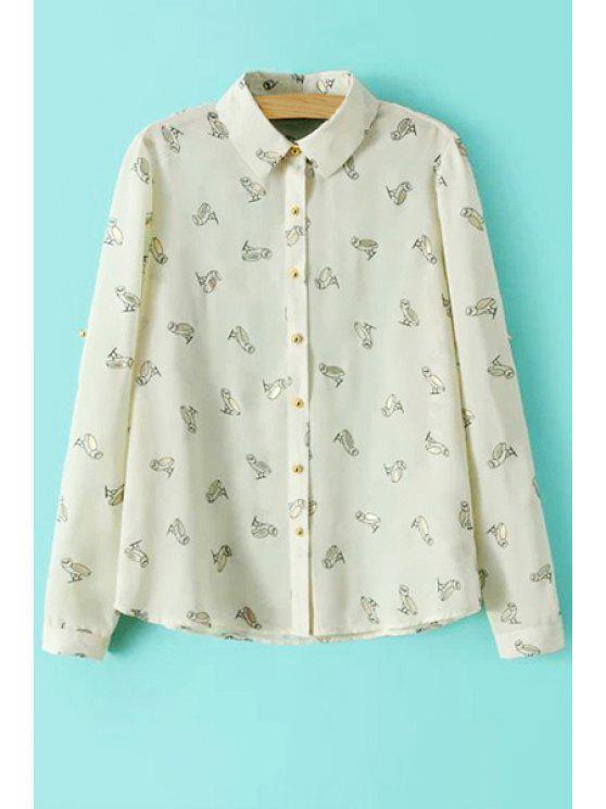 online Full Owl Print Long Sleeve Shirt - BEIGE S