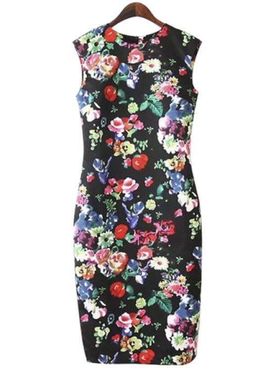 shops Sleeveless Full Floral Print Dress - BLACK S