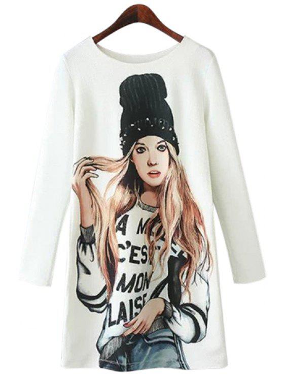 buy Girl Print Long Sleeve Dress - WHITE S