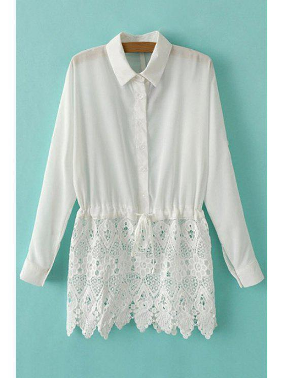shops Long Sleeve Lace Splicing Shirt - WHITE S